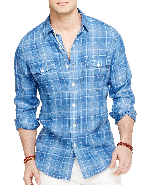 aa5bf2e5a ... norway shopping lyst ralph lauren polo plaid linen workshirt in blue  for men ec4ed 6fd64 b787b