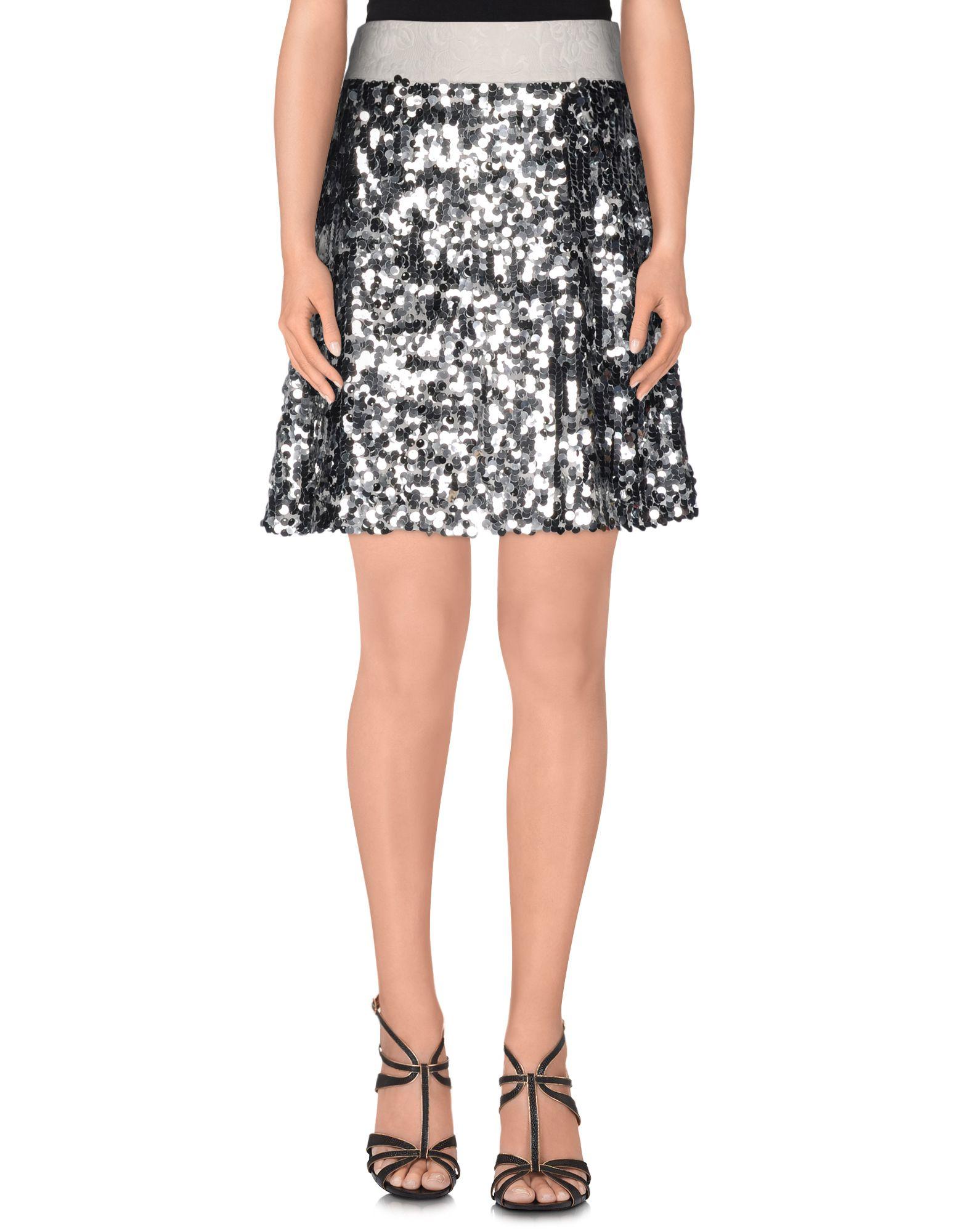 dolce  u0026 gabbana knee length skirt in metallic