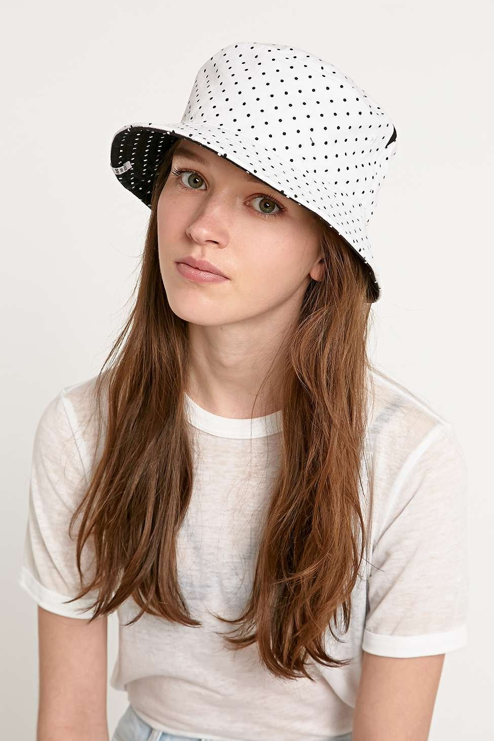 27070cc595c ... 50% off herschel supply co. polka dot lake bucket hat in white in white
