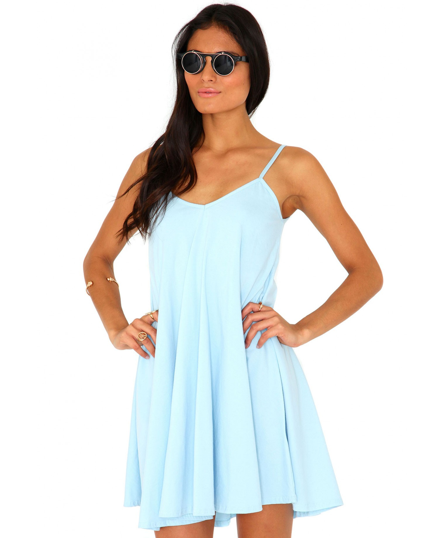 f7d50adb3b7 Lyst - Missguided Dayla Oversized Swing Dress in Baby Blue in Blue