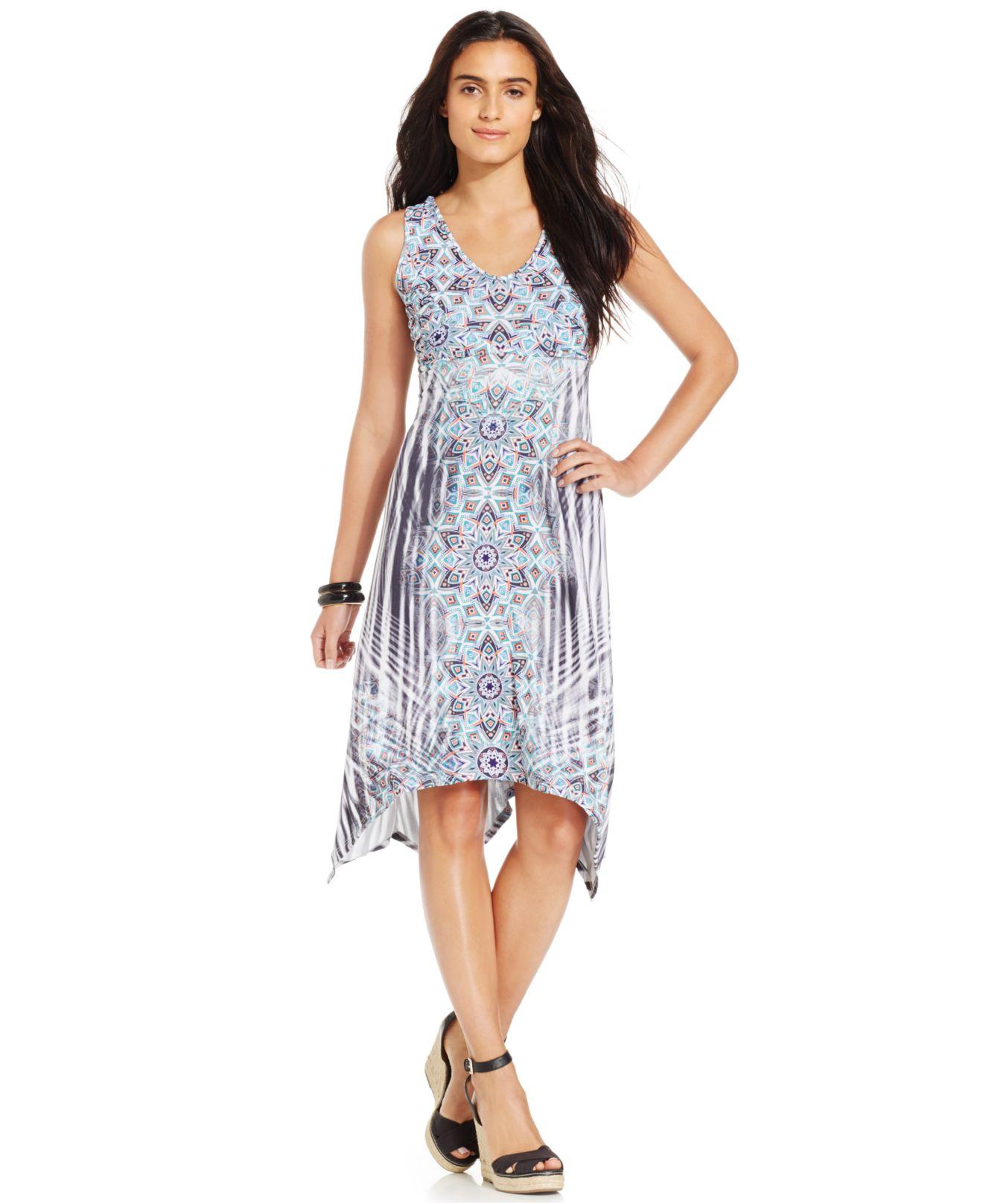 Style & Co. Printed Handkerchief-hem Dress In Blue