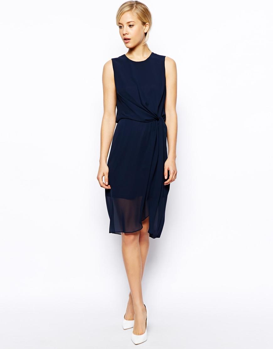Asos Plain Drape Midi Dress in Blue (Navy) | Lyst