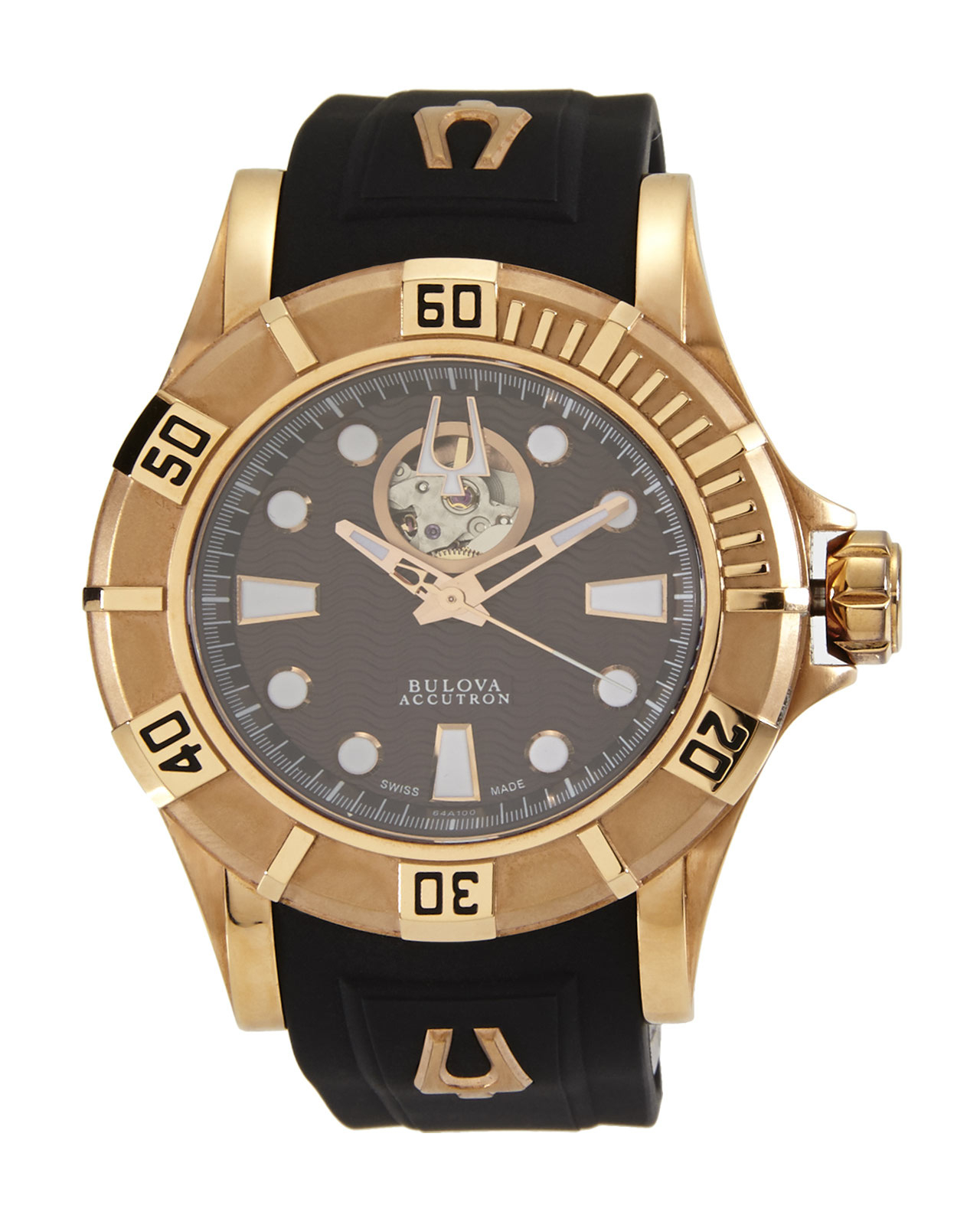 bulova 64a100 gold tone black for lyst