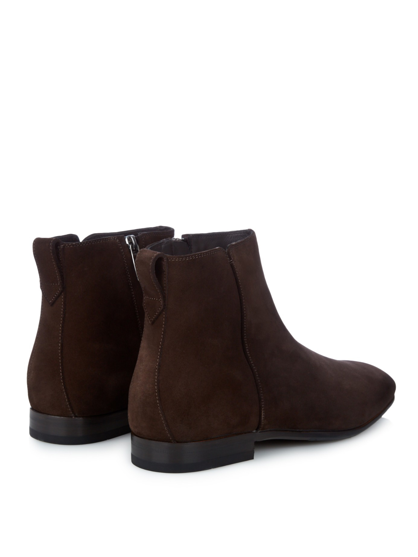 ferragamo mistero suede chelsea boots in brown for lyst