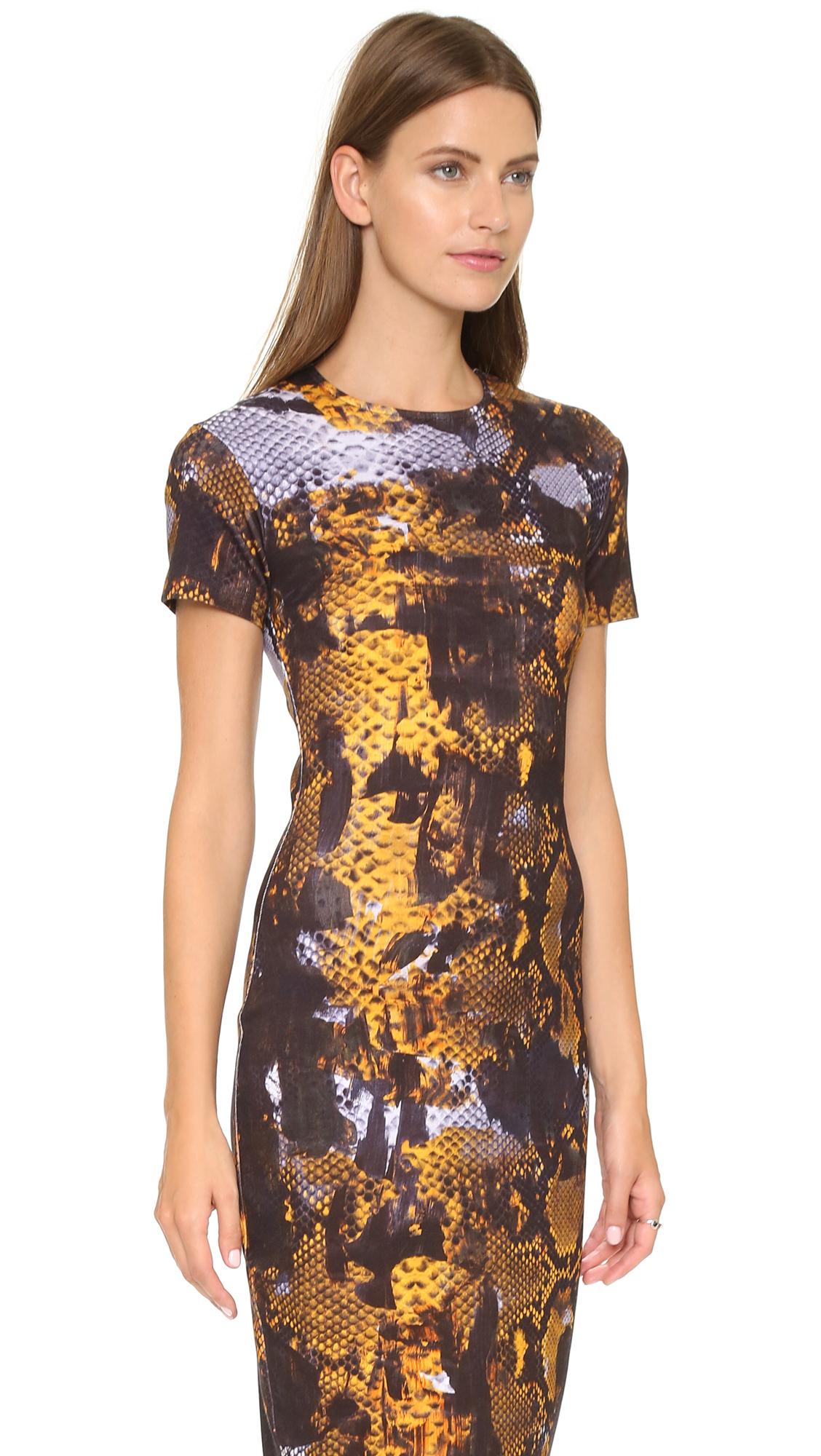 Lyst Mcq Long Bodycon Dress Amber Snake