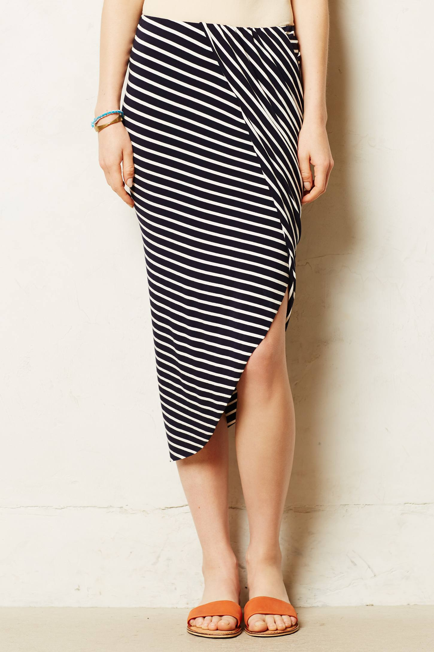 anthropologie draped jersey pencil skirt in multicolor