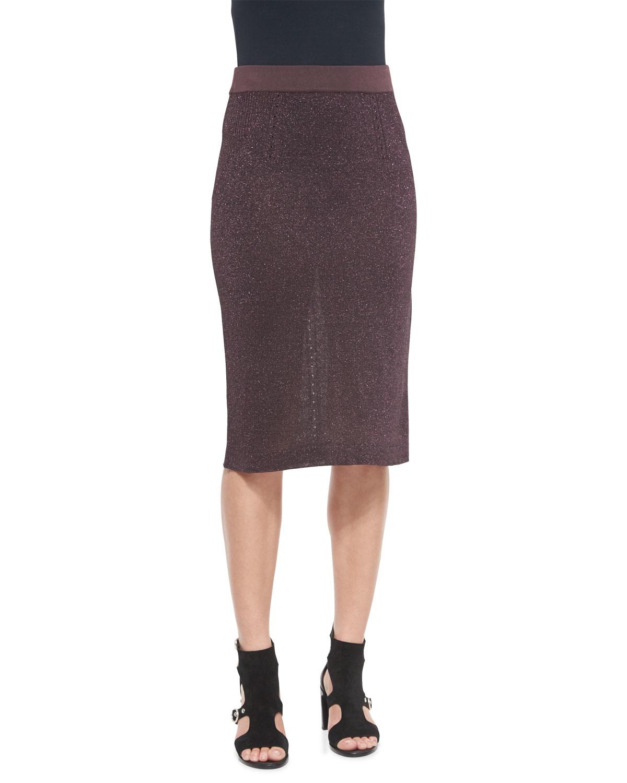Rag & bone Marie Metallic Knit Pencil Skirt in Purple | Lyst