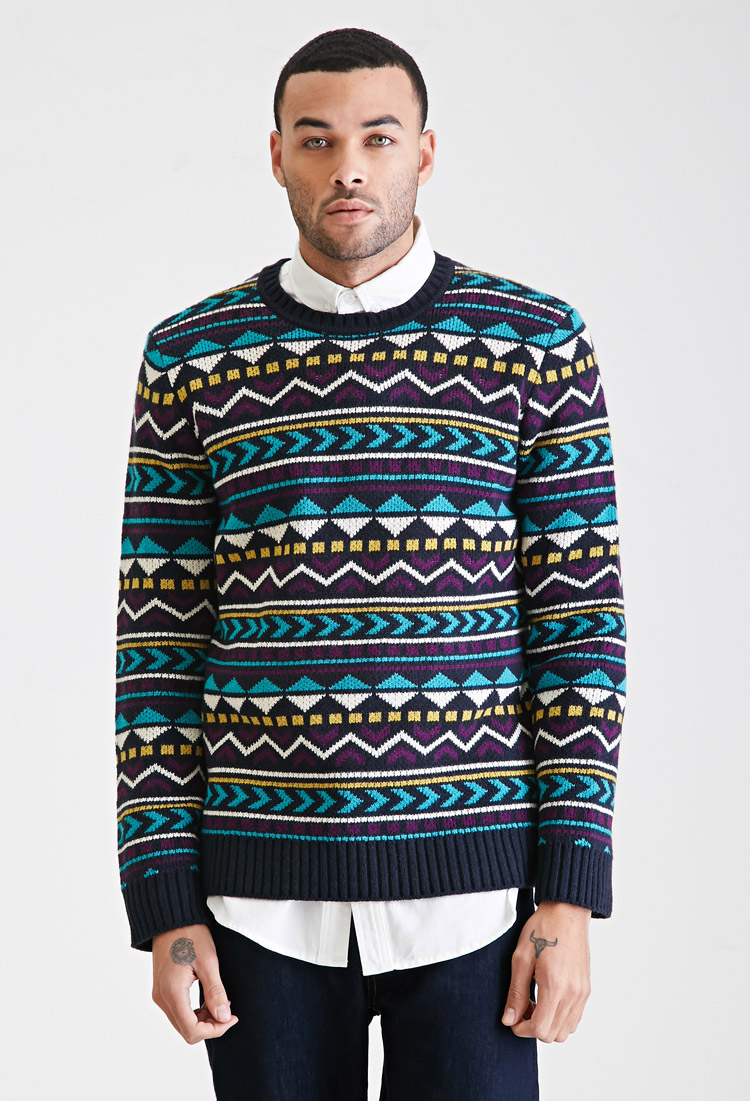 Forever 21 Geo-striped Sweater in Blue for Men | Lyst