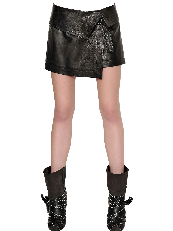 marant nappa leather mini skirt in black lyst