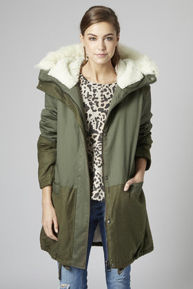 Topshop Petite Borg Lined Parka Jacket in Green | Lyst