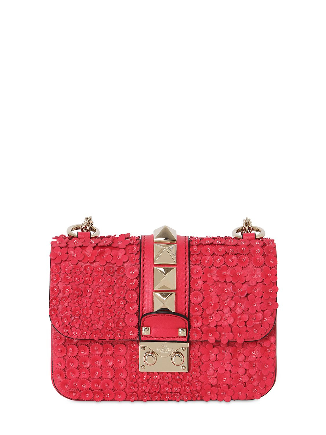 Lyst Valentino Lock Flower Mini Leather Shoulder Bag In Red