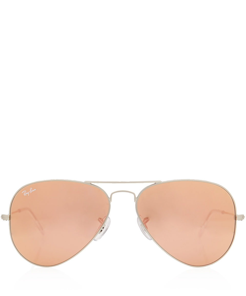 ray ban pink aviator  Ray-ban Brown Mirror Pink Aviator Large Metal Sunglasses in ...