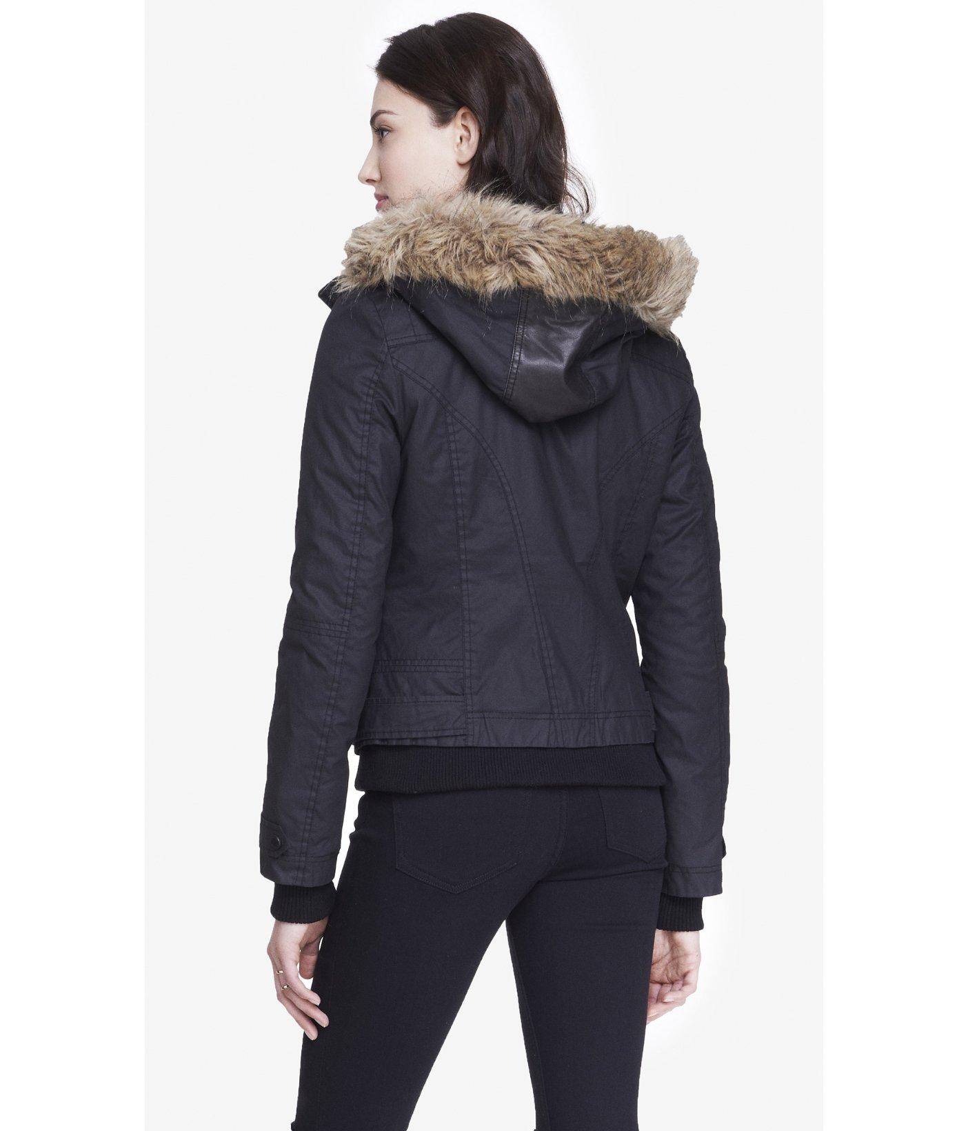 Express Fur Hood Waxed Twill Coat in Black