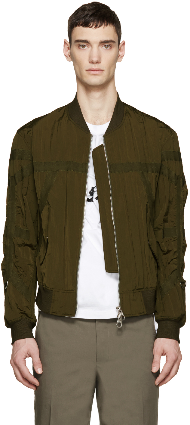 Wooyoungmi Green Nylon Taped Bomber Jacket in Green for Men | Lyst