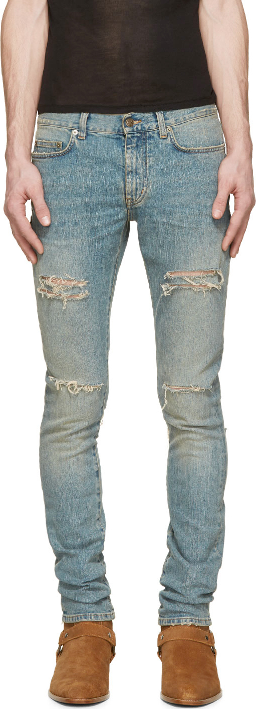 washed distressed skinny jeans - Blue Saint Laurent O1uenK2