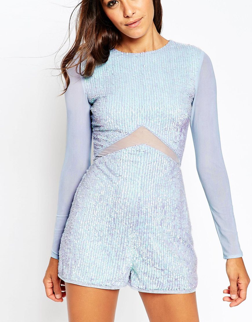 e4e8806112 Lyst - ASOS Sequin Irridescent Playsuit With Mesh Insert in Blue