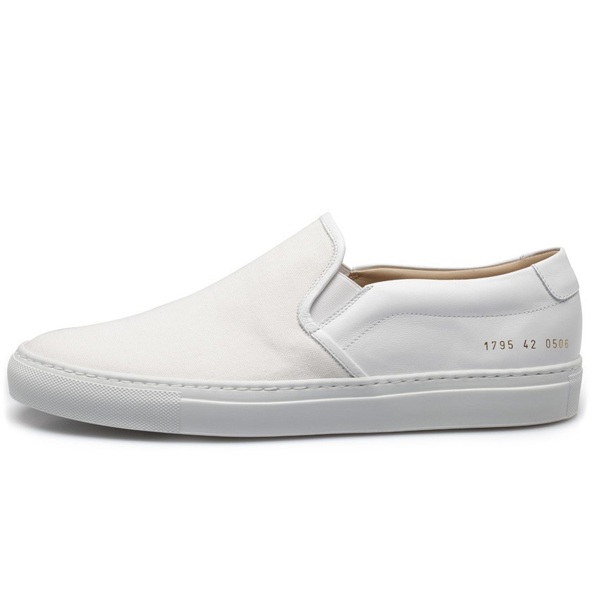 common projects white slip on canvas leather sneakers in white for men lyst. Black Bedroom Furniture Sets. Home Design Ideas