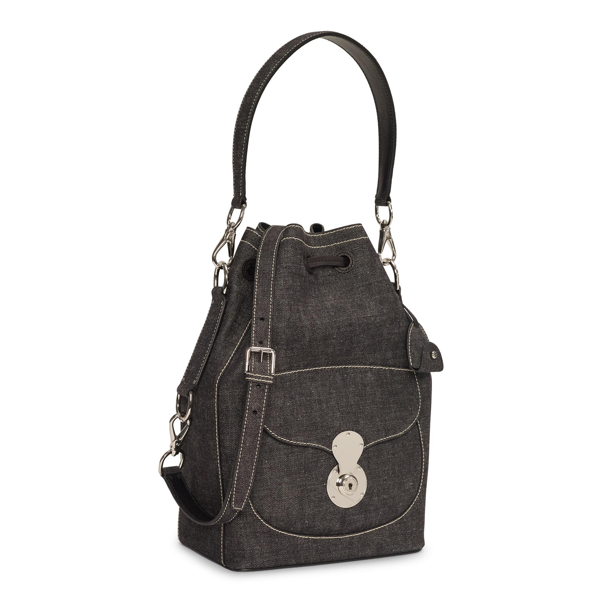 0075531145 Ralph Lauren Denim Ricky Drawstring Bag in Black - Lyst