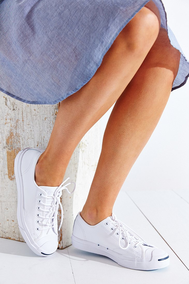 c6cd3544433e ... shop lyst converse jack purcell tumbled leather low top sneaker in  white a9634 e0870