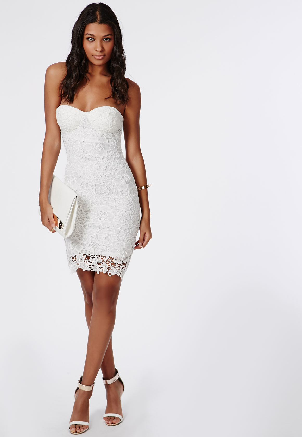 Lyst - Missguided Adelle Lace Bandeau Bodycon Dress White ...