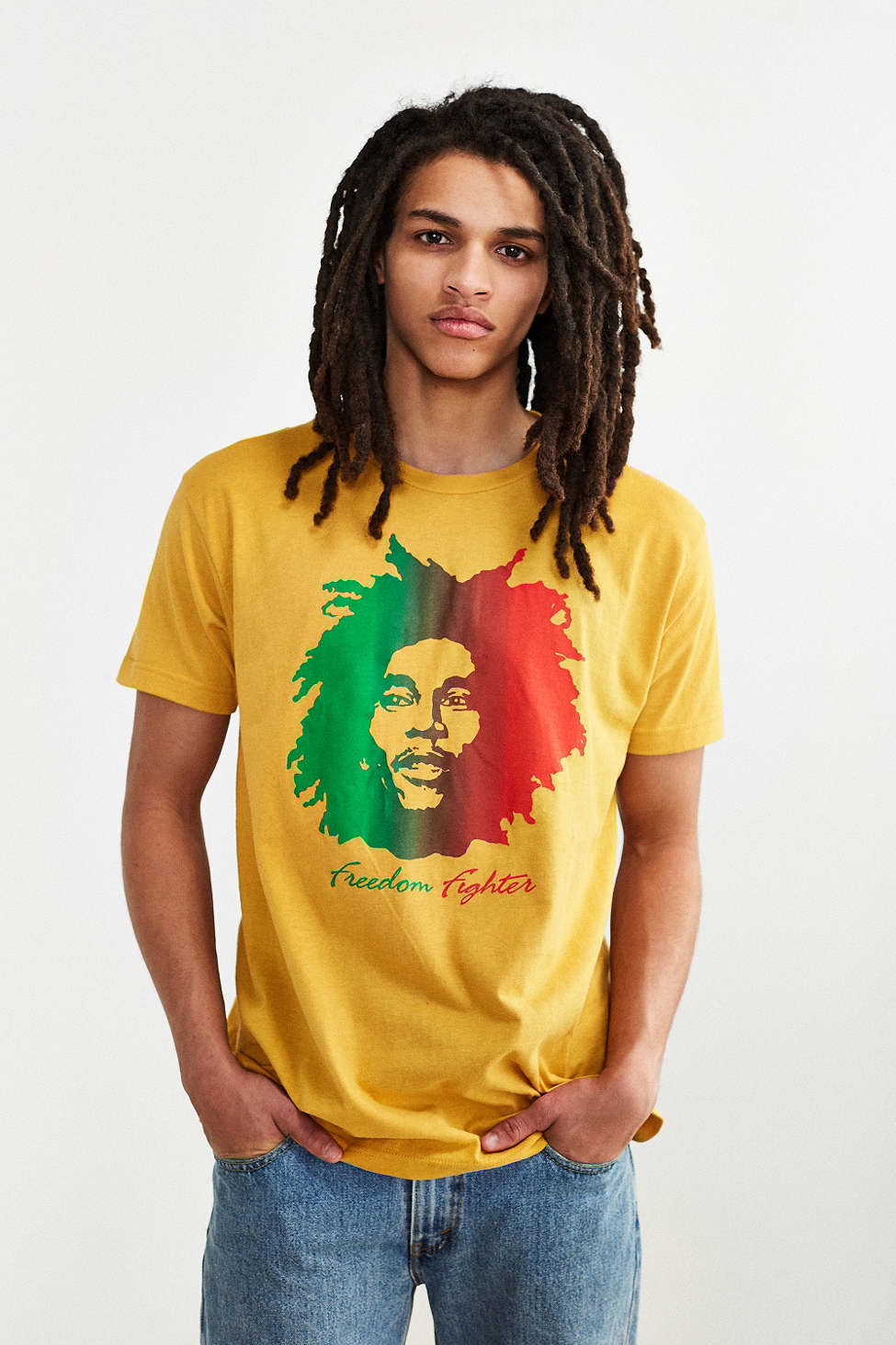 528290cb7df Urban Outfitters Bob Marley Freedom Fighter Tee in Yellow for Men - Lyst