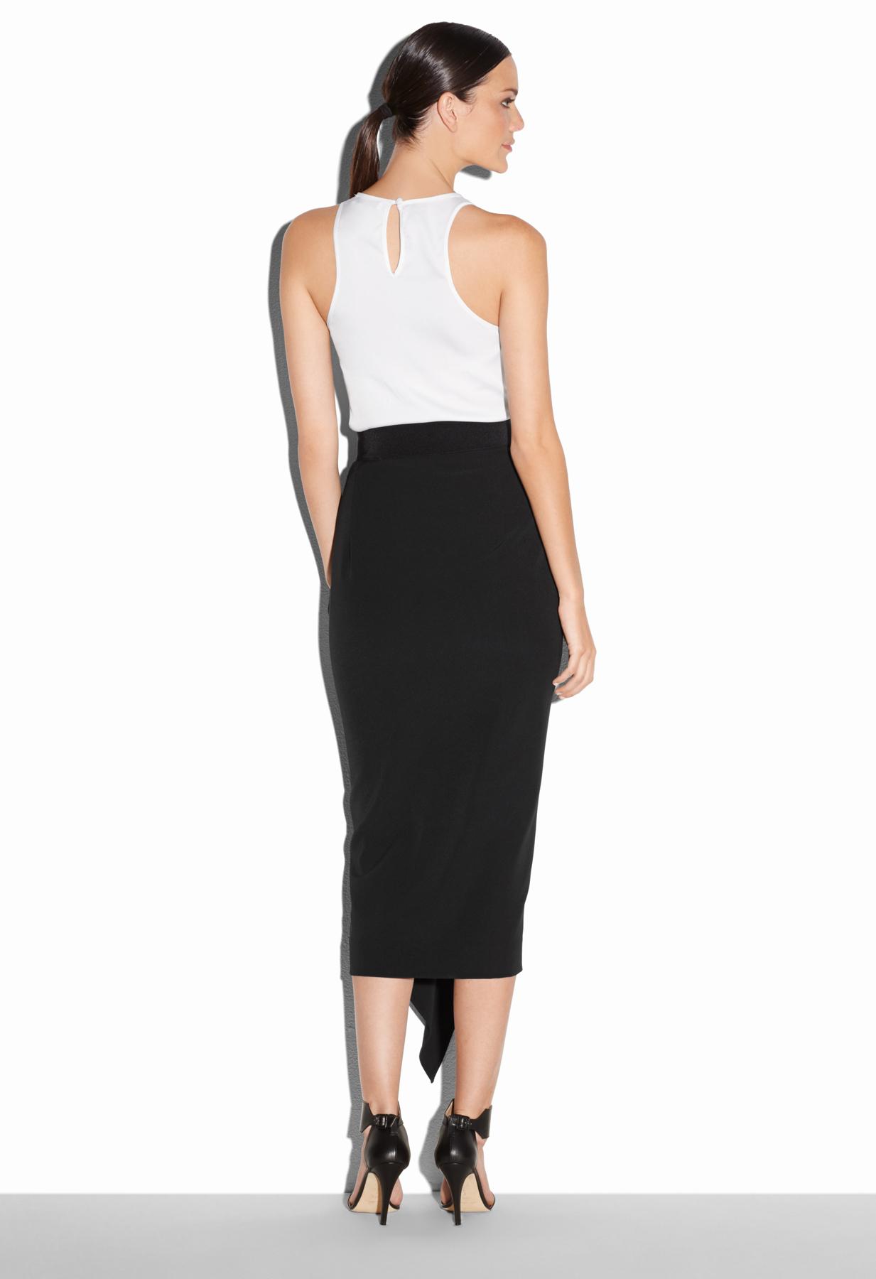 milly italian cady stretch cascade midi skirt in black lyst