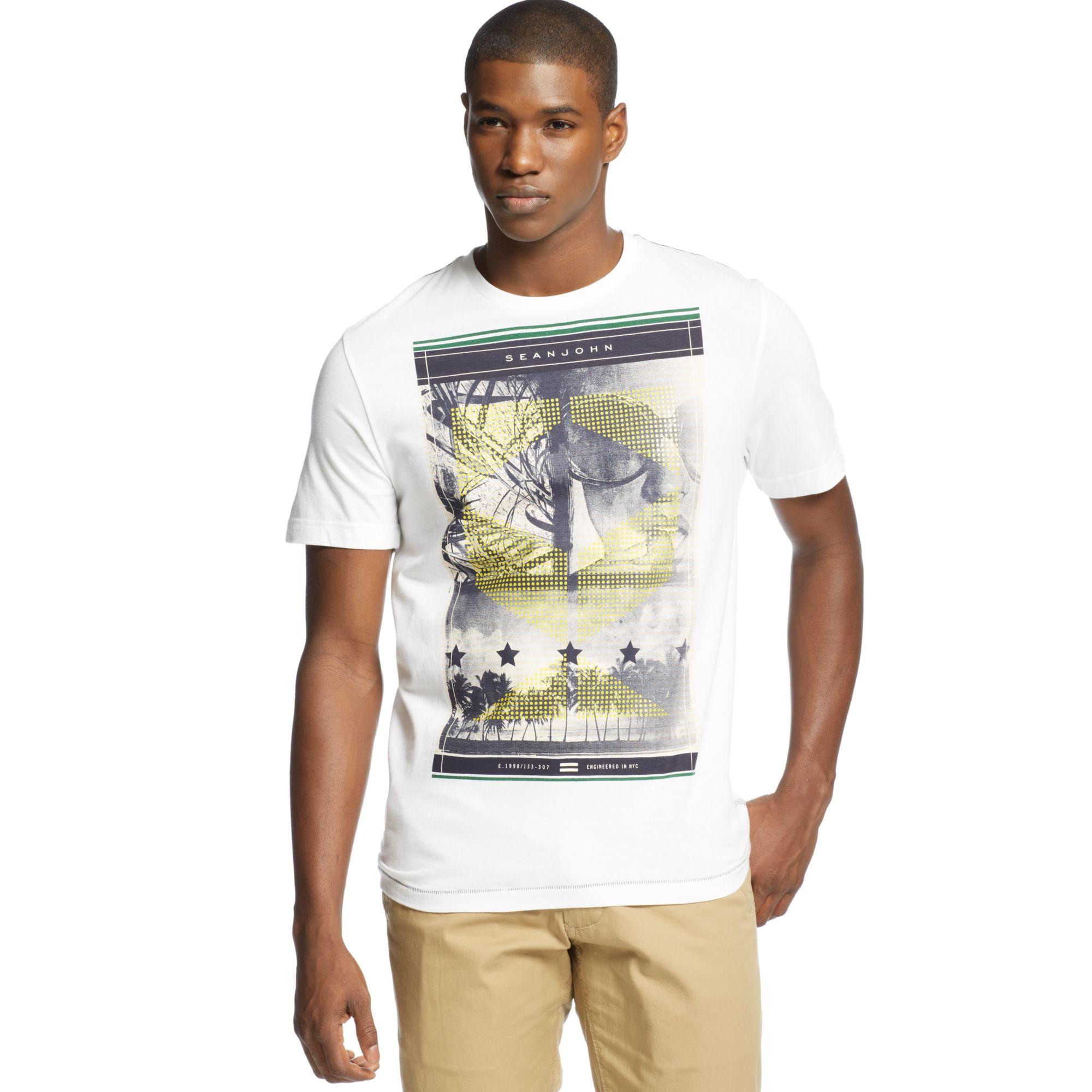 Lyst sean john distraction t shirt in white for men for Sean john t shirts for mens