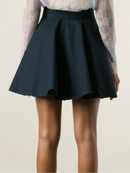 valentino high waisted flared skirt in blue lyst