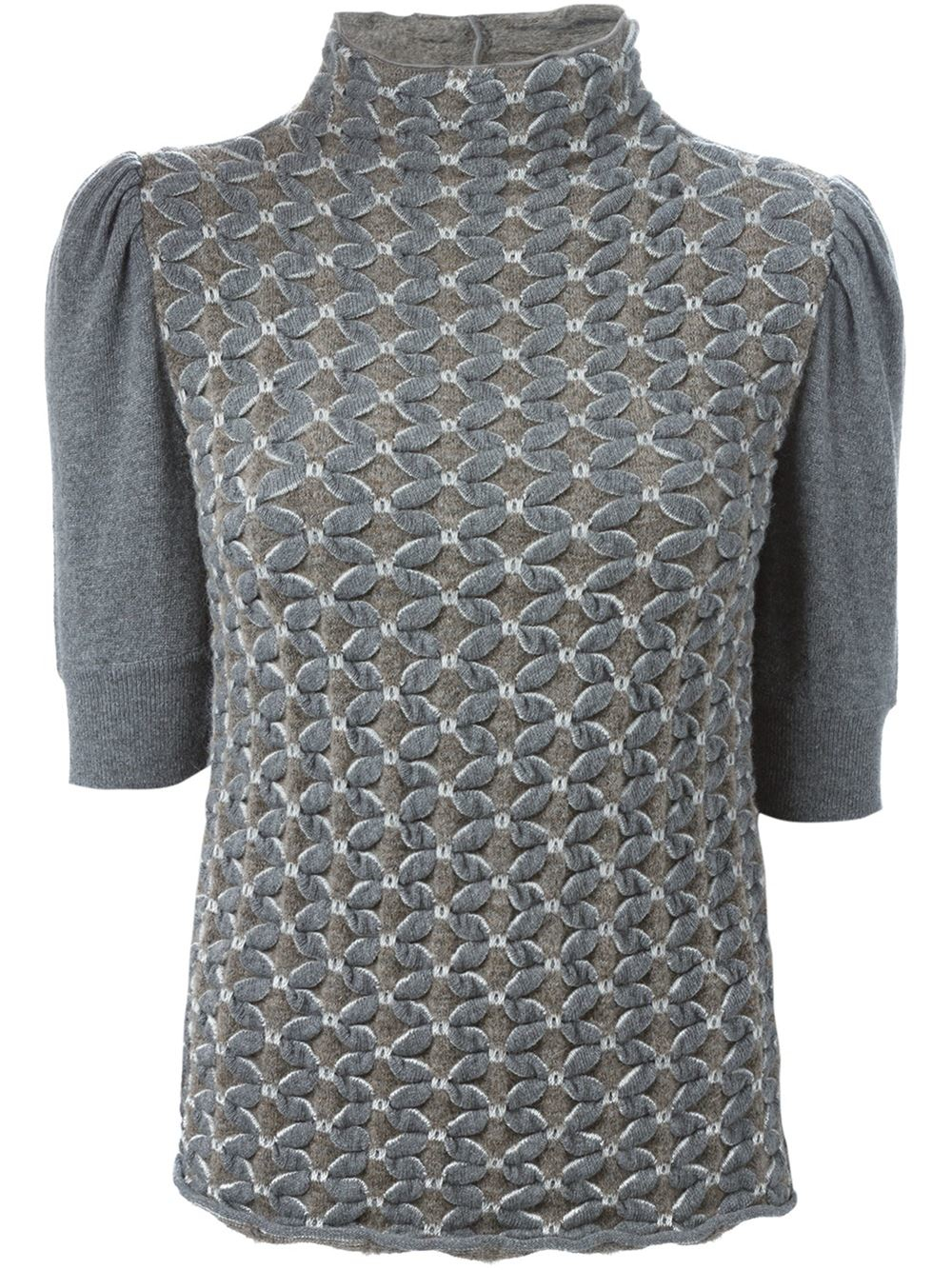 emporio armani short puff sleeve sweater in gray grey lyst. Black Bedroom Furniture Sets. Home Design Ideas