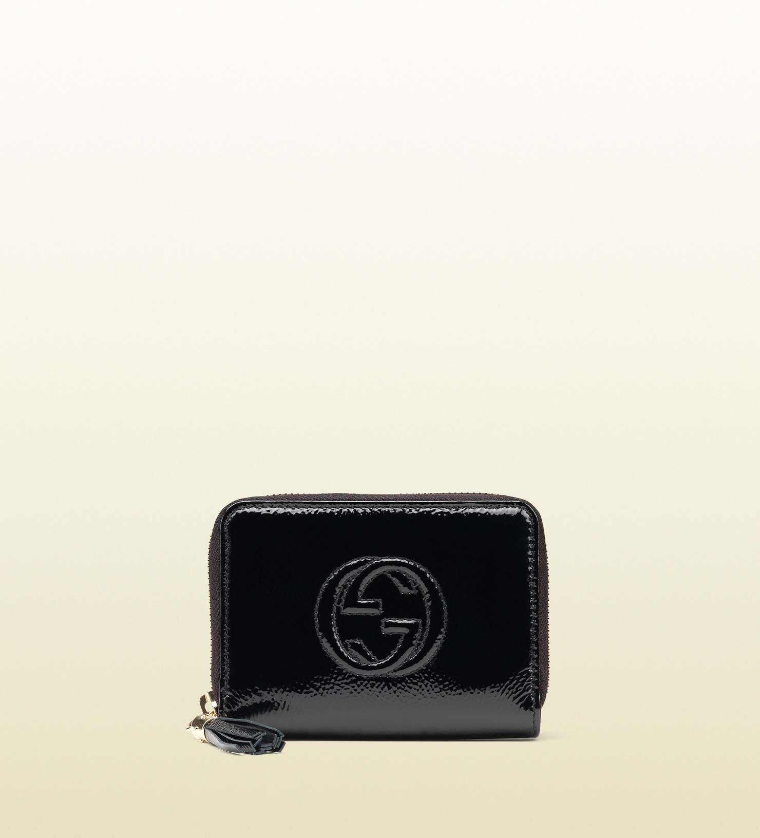 4525245979ae Gucci Soho Soft Patent Leather Zip Around Wallet in Black - Lyst