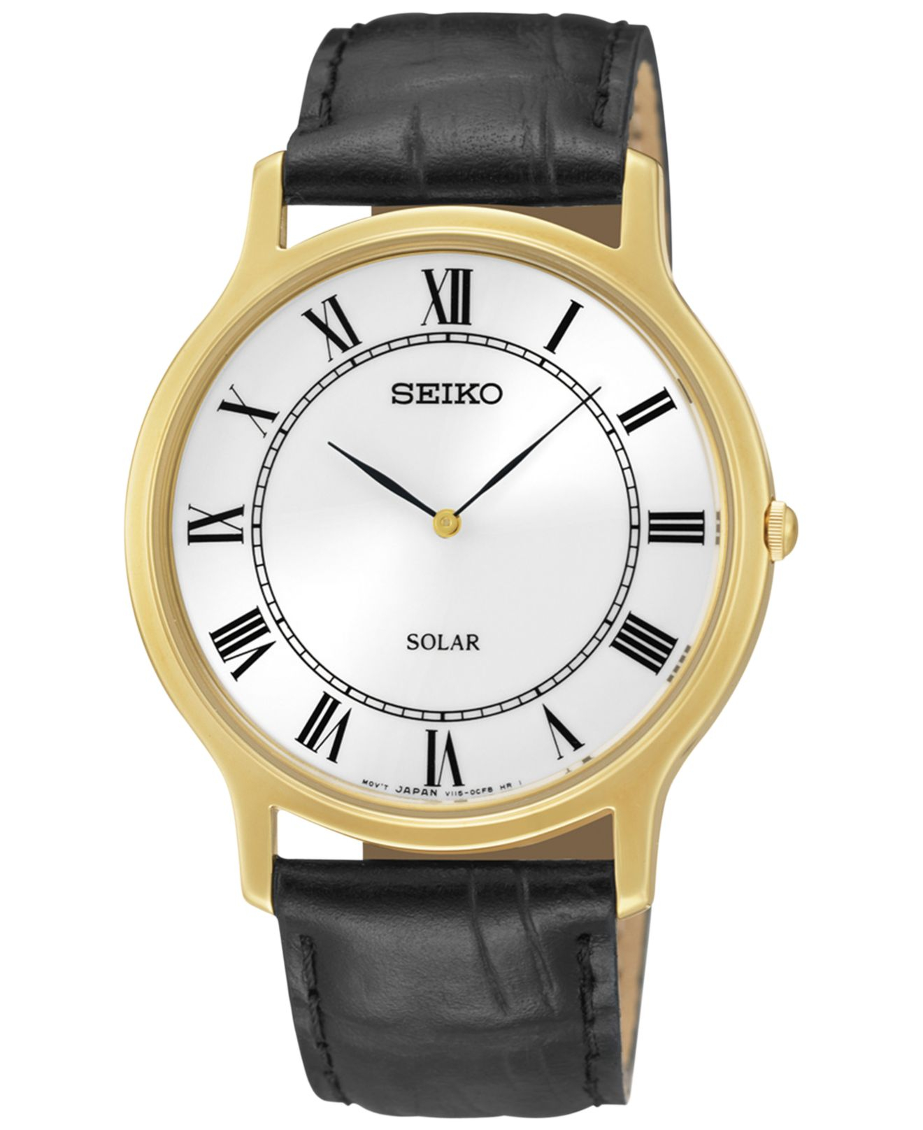 Seiko Mens Solar Black Leather Strap Watch 38mm Sup878 In For