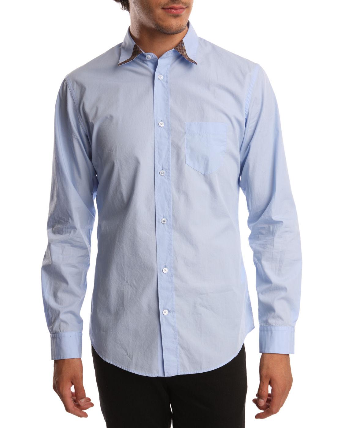 viktor rolf blue shirt with contrast collar in blue for men lyst. Black Bedroom Furniture Sets. Home Design Ideas