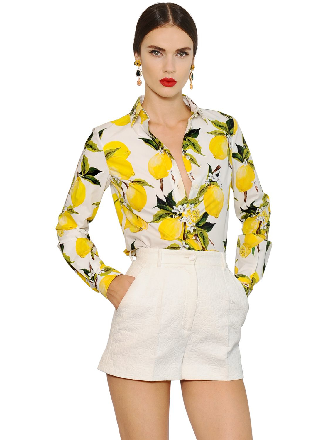 Dolce   Gabbana Lemon Printed Cotton Poplin Shirt in Yellow - Lyst 7fab1d6735fce