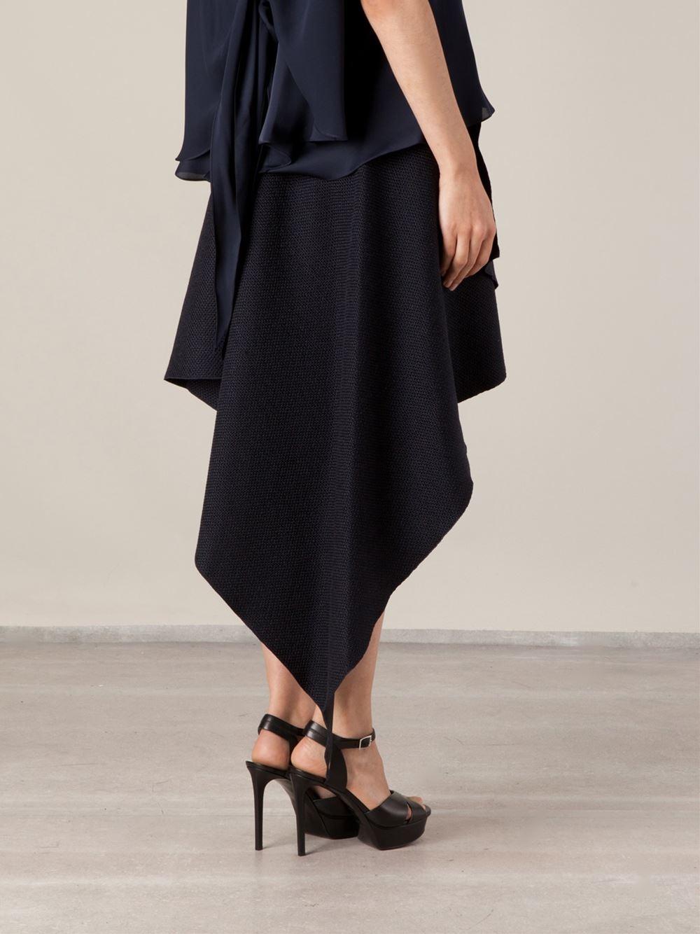 maison rabih kayrouz layered asymmetric skirt in blue lyst