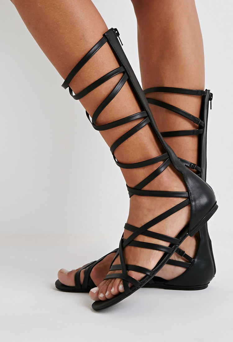 9cb41b31b93 Forever 21 Strappy Mid-calf Gladiator Sandals in Black - Lyst