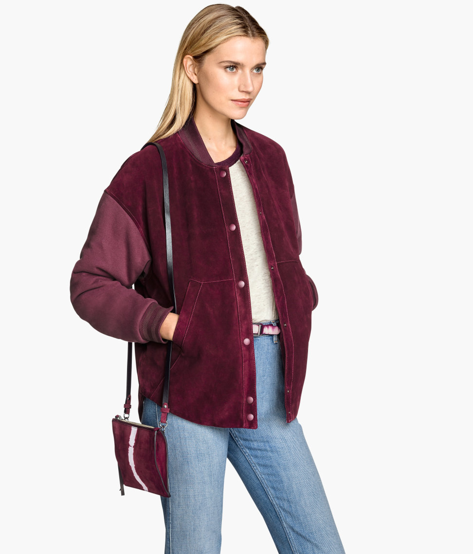 H&m Suede Baseball Jacket in Purple | Lyst