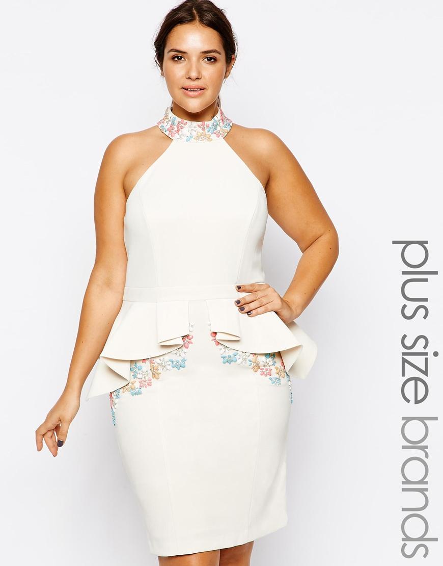 Forever Unique Plus Size Solange Peplum Dress in Ivory ...