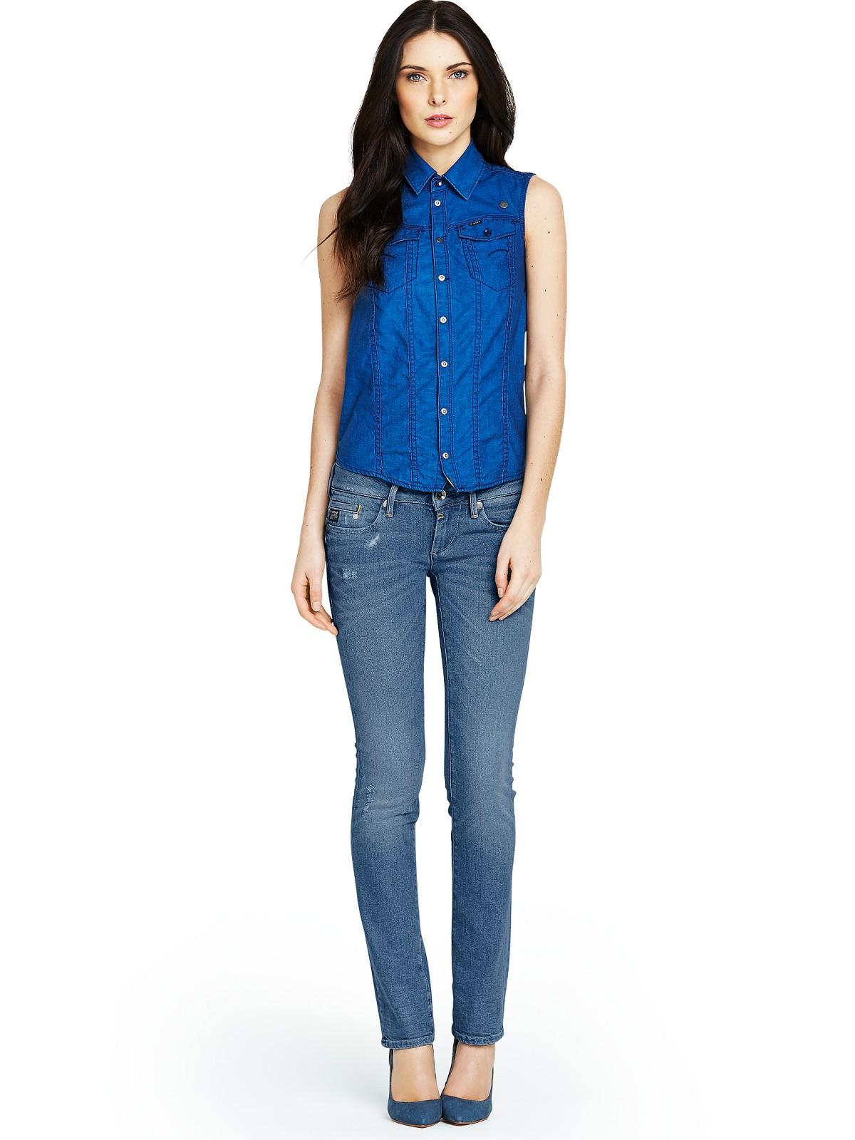 star raw midge straight leg jeans in blue medium aged lyst. Black Bedroom Furniture Sets. Home Design Ideas