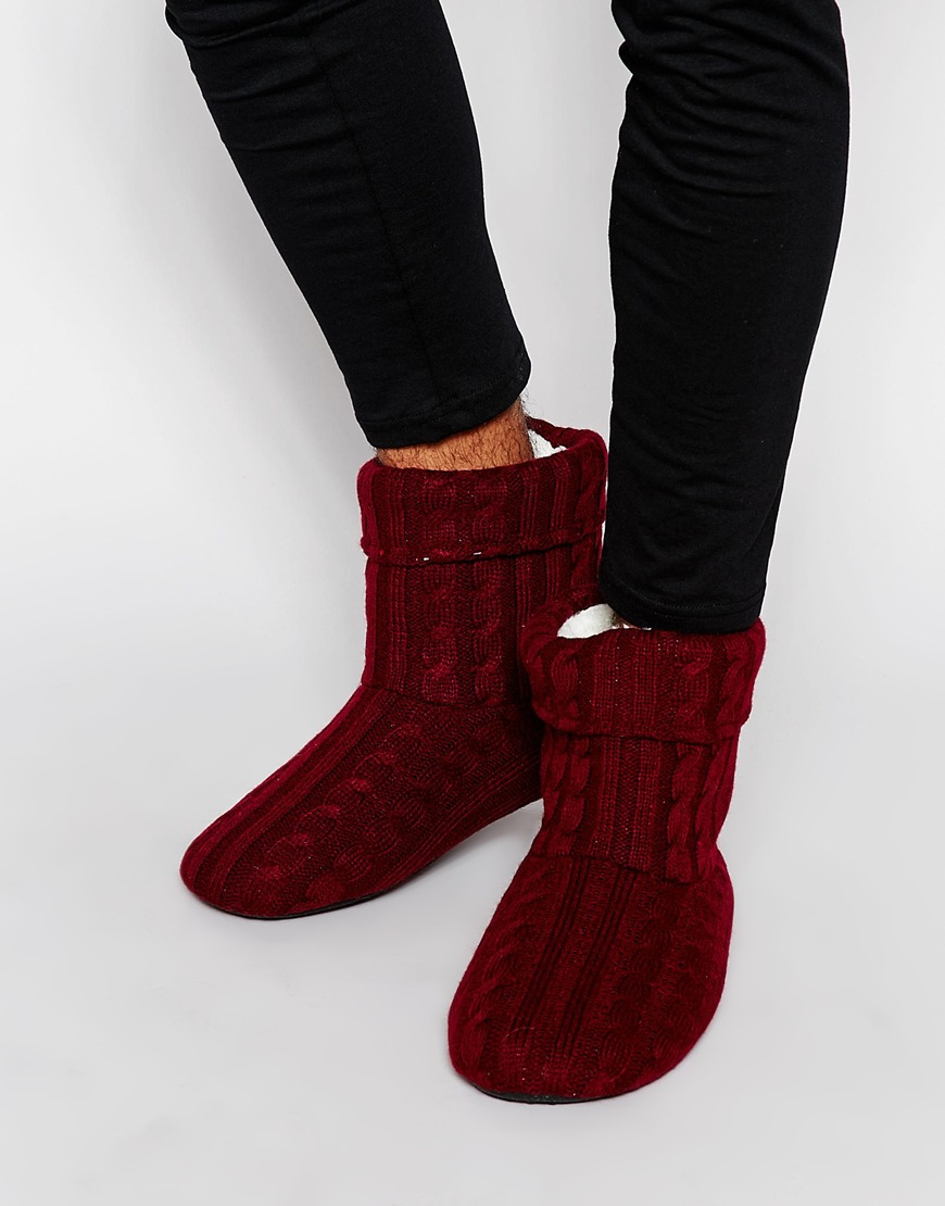 asos slipper boots in burgundy cable knit with warm lining