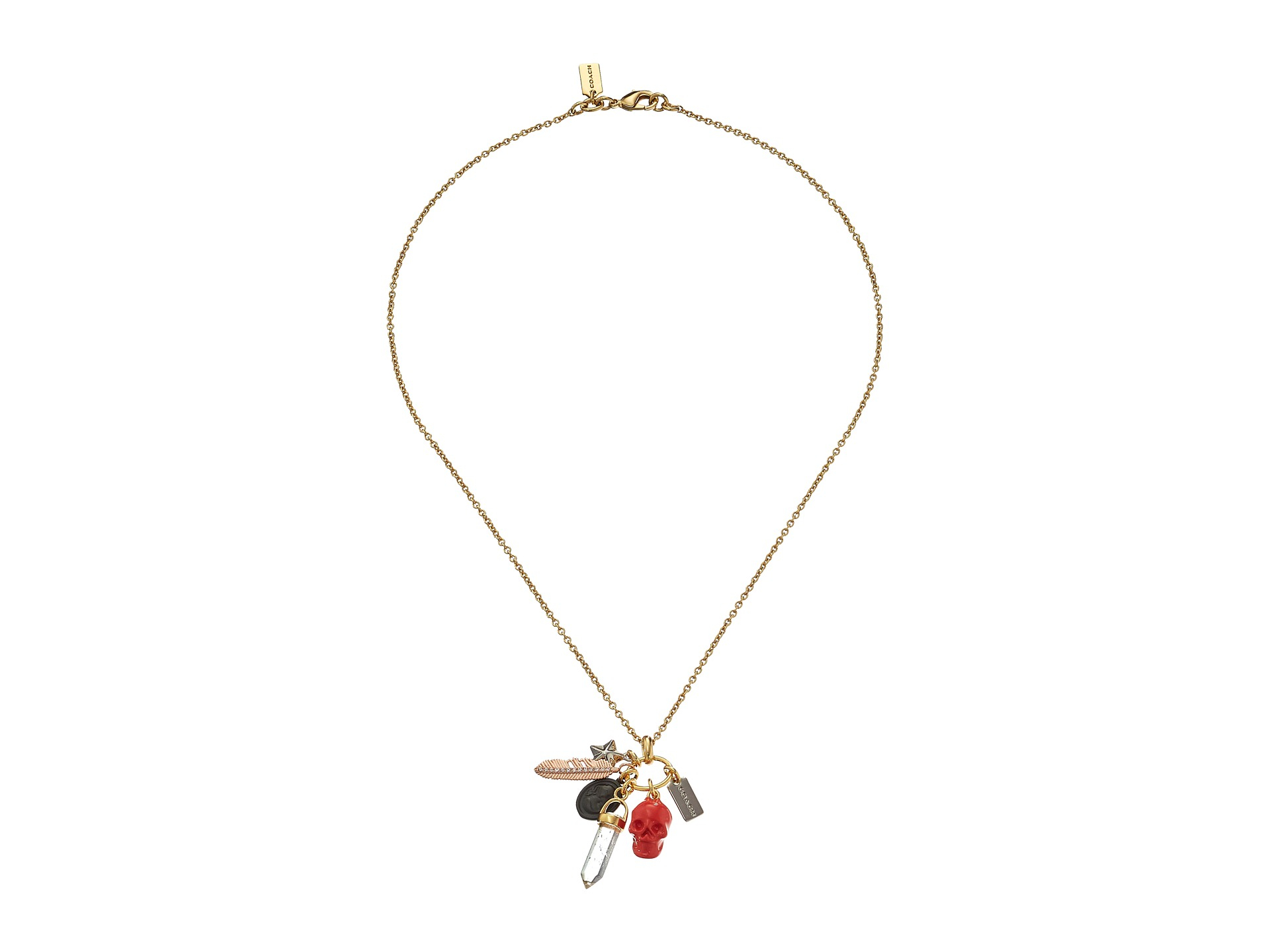 coach pave multi charm necklace lyst