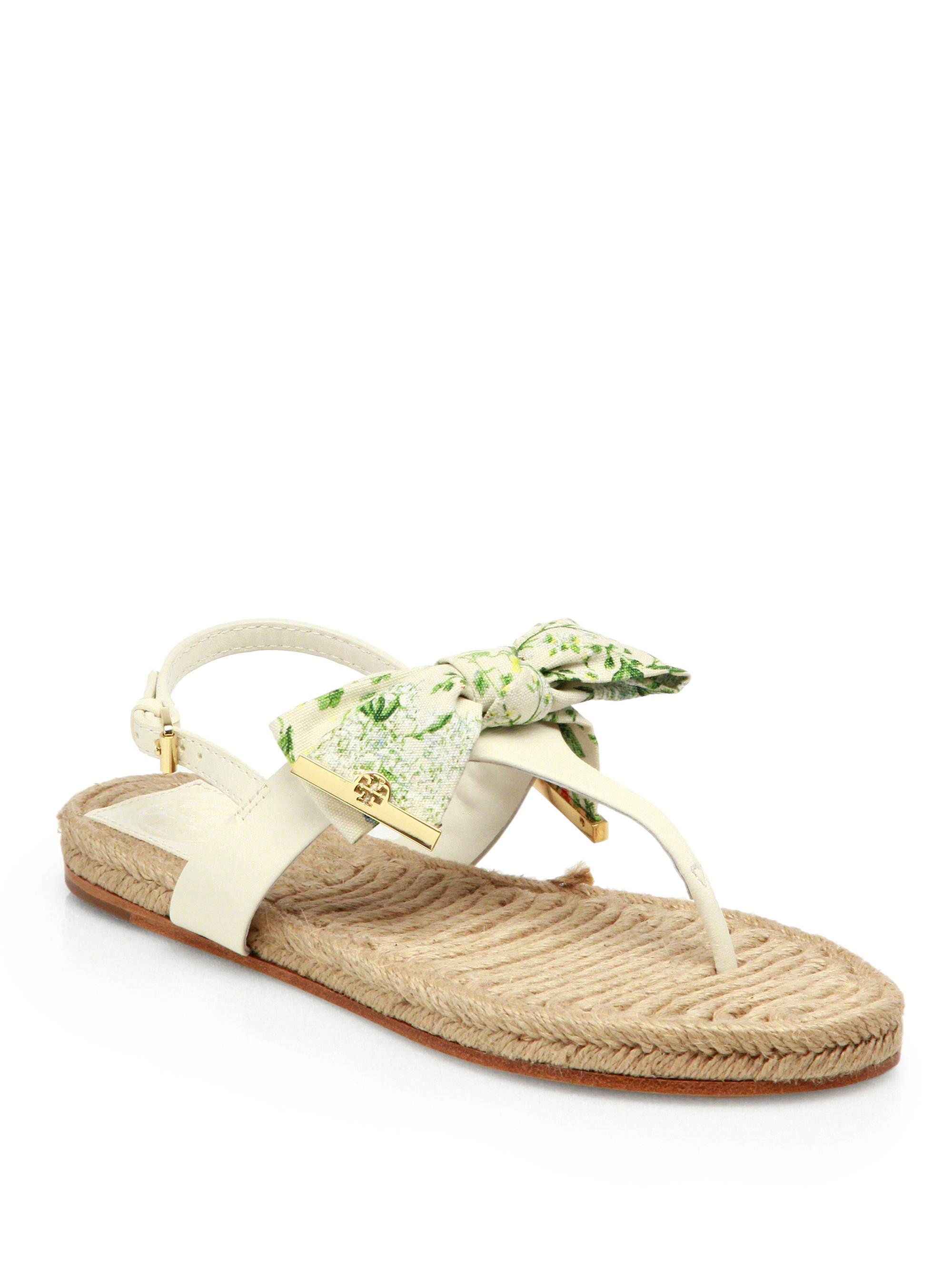 tory burch penny leather esapdrille thong sandals in white. Black Bedroom Furniture Sets. Home Design Ideas