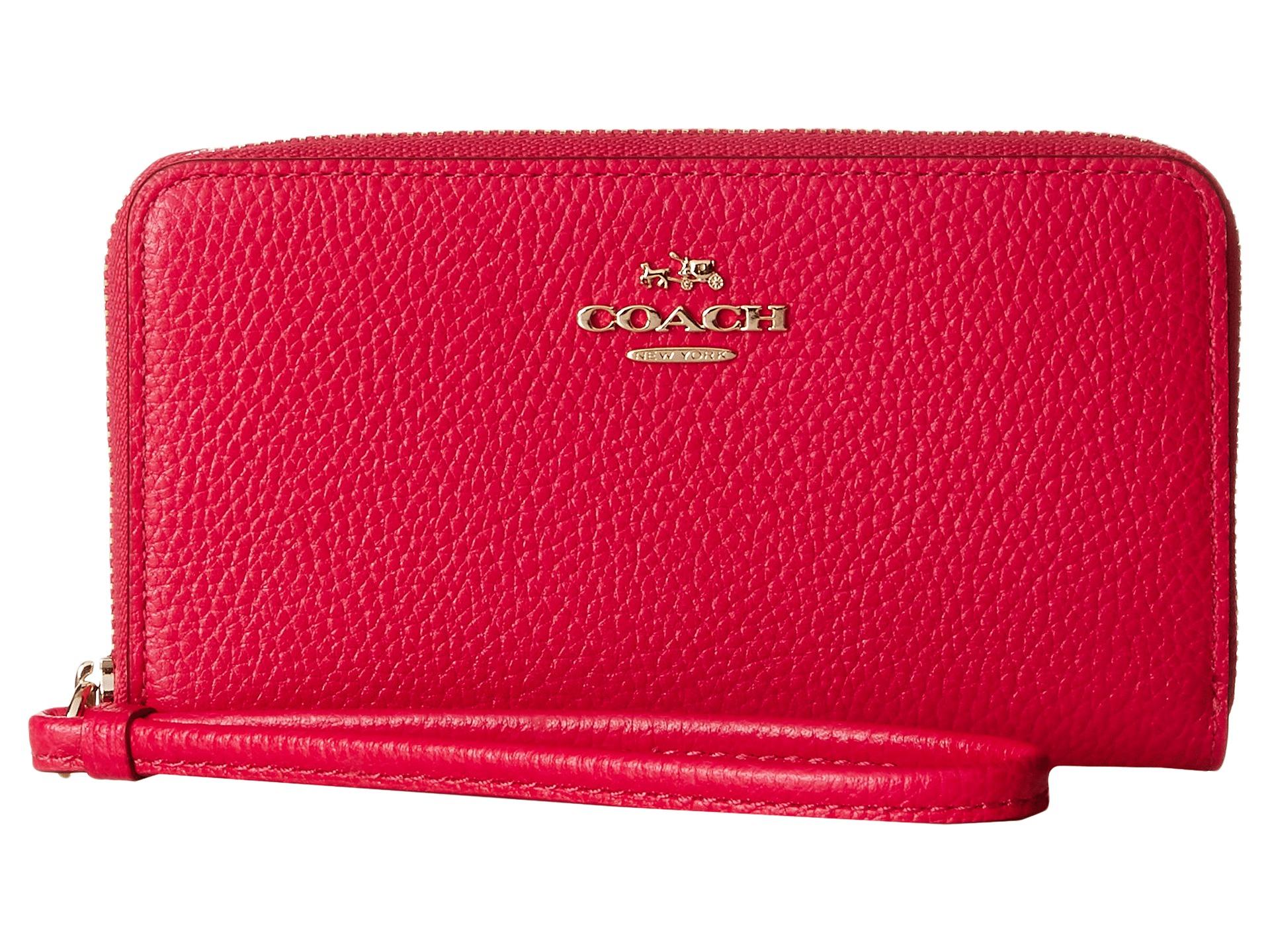 9d3efdc596ab Lyst - Coach Box Progam Polished Pebble Zip Case in Pink