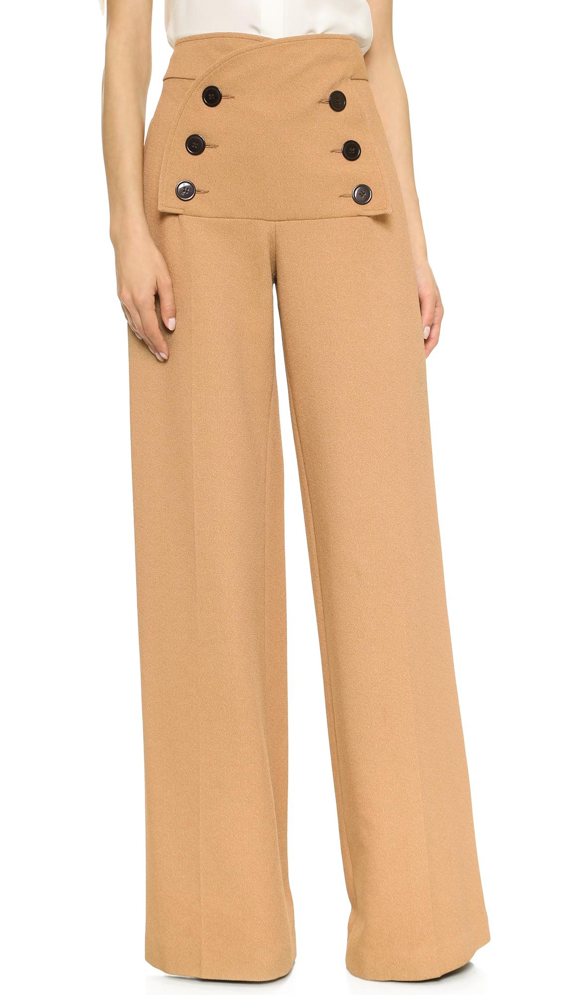 Derek Lam Button Sailor Pants Camel In Brown Lyst