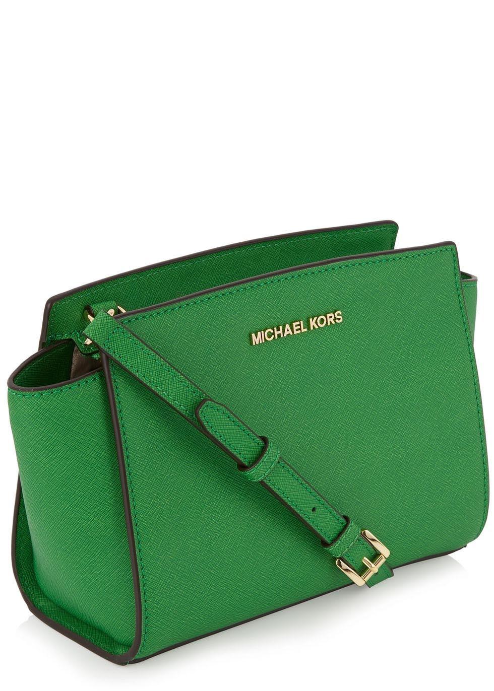 c787d77b8b08 ... norway michael kors selma green saffiano crossbody bag in green lyst  bfed5 f2513