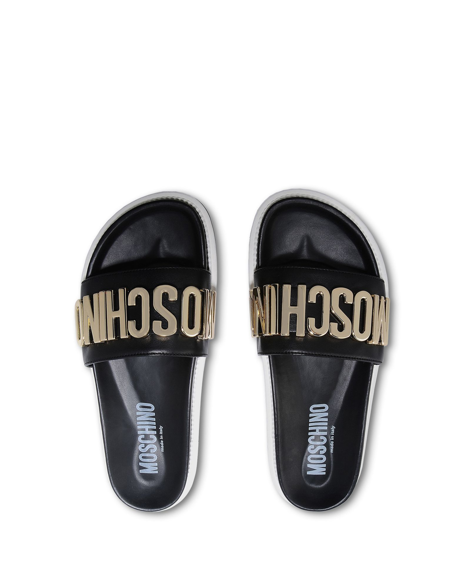 Moschino Monogramme Leather Slides In Black For Men Lyst