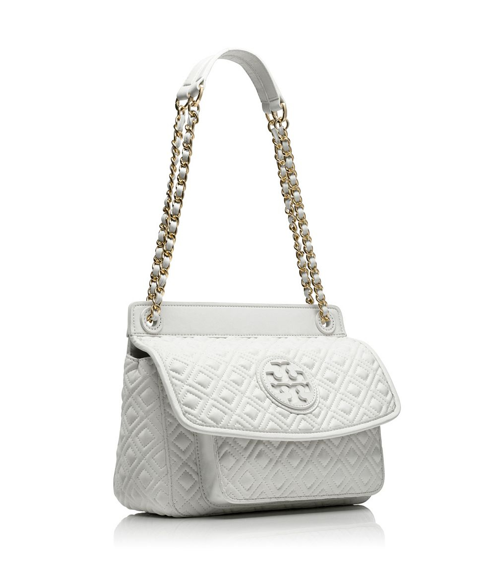 Tory burch Marion Quilted Small Shoulder Bag in White | Lyst