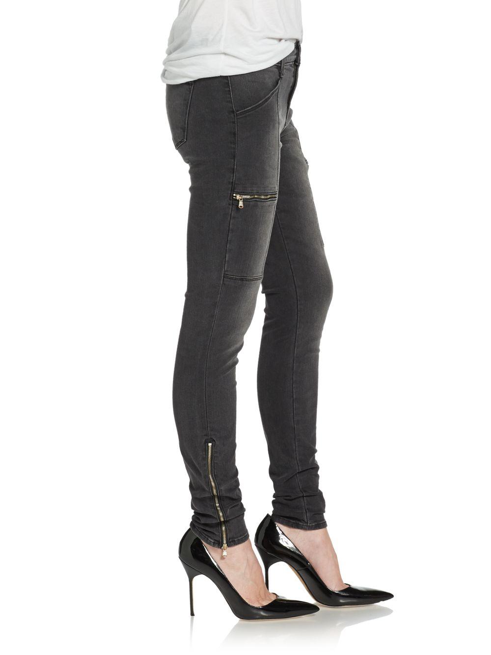 J brand Kassidy Exposed Zipper Skinny Jeans in Gray | Lyst