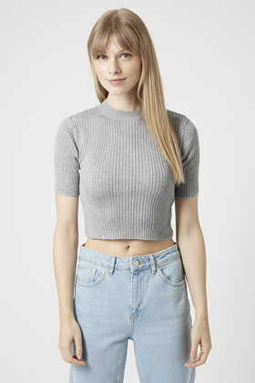 6081d5c6c68ae9 Lyst - TOPSHOP Tall Wide Ribbed Funnel Neck Crop Top in Gray