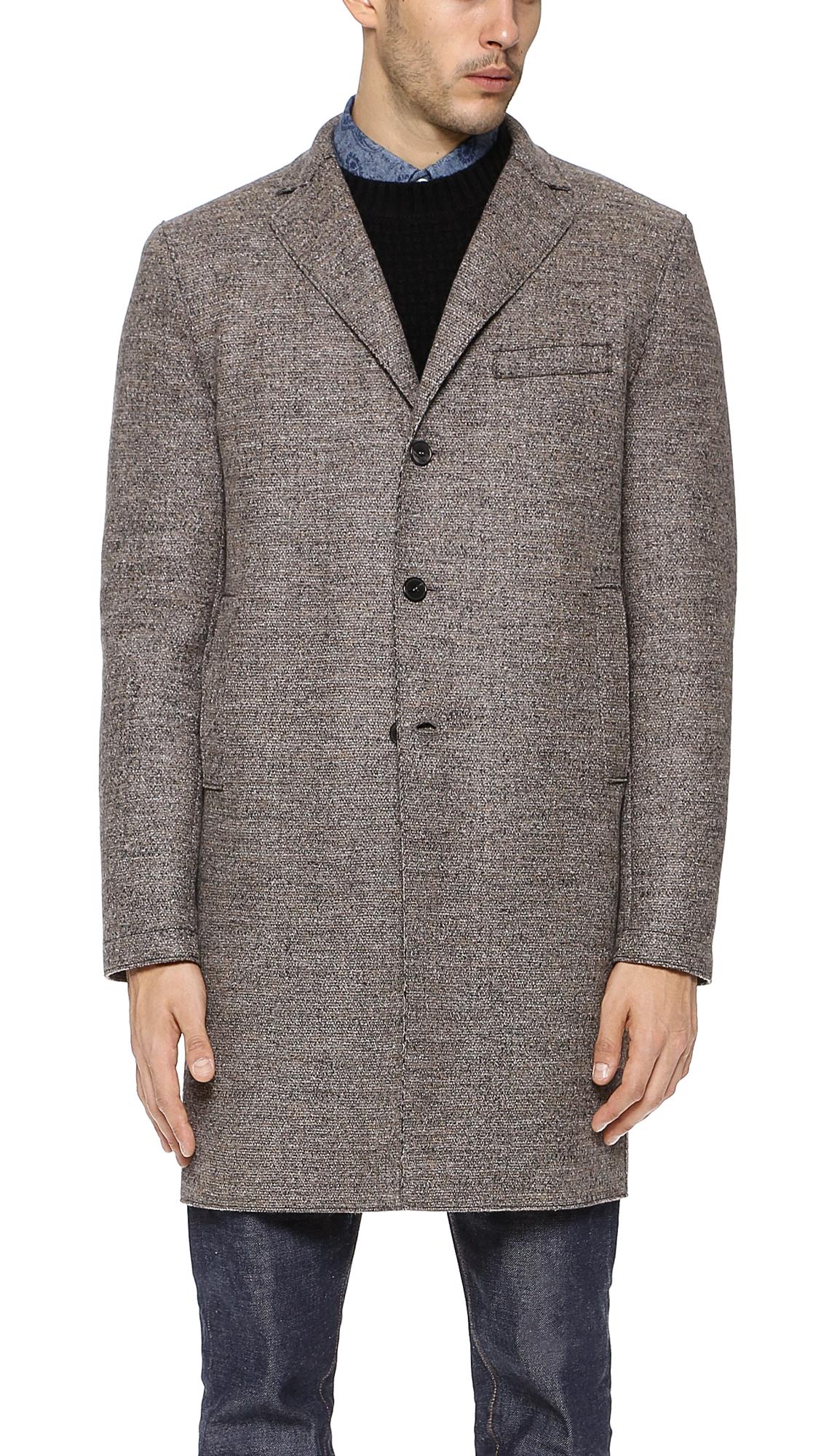 harris wharf london tweed overcoat with tartan interior in brown for men lyst. Black Bedroom Furniture Sets. Home Design Ideas