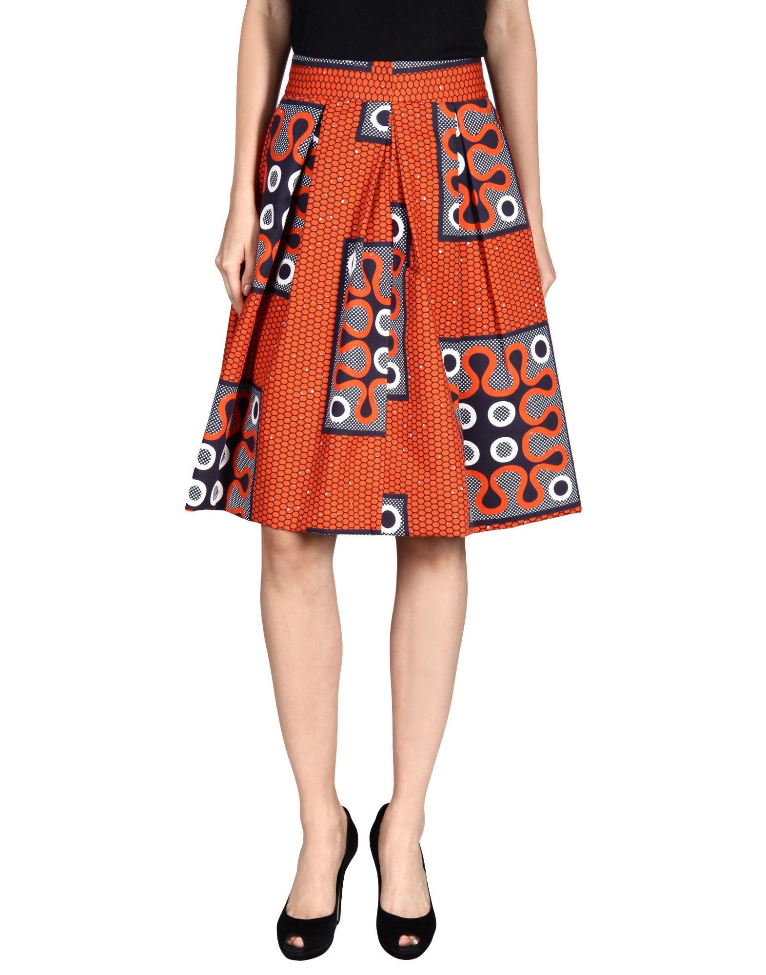 stella jean knee length skirt in orange lyst